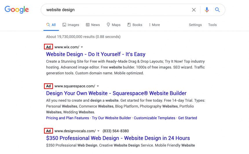 """Image of a sponsored google ad with """"ad"""" tag circled"""