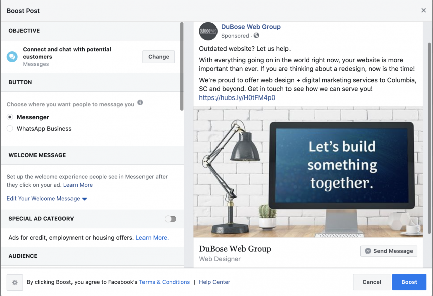 Screenshot of what the backend of facebook ad setup looks like