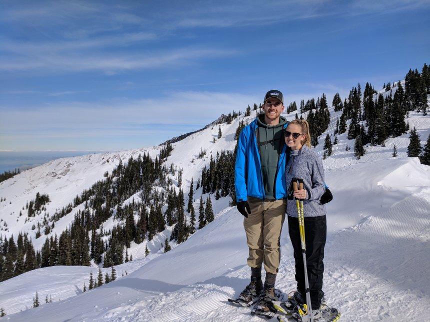 Emily skiing with husband